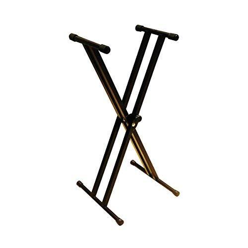 RockJam doble brazo del soporte para teclado ajustable de 29 cm a 91 cm con cierre correas para asegurar teclado de piano