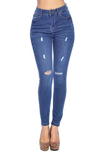 Blue Age Women's High Rise Skinny Jeans Ripped Denim (JP1104_MD_11) ()