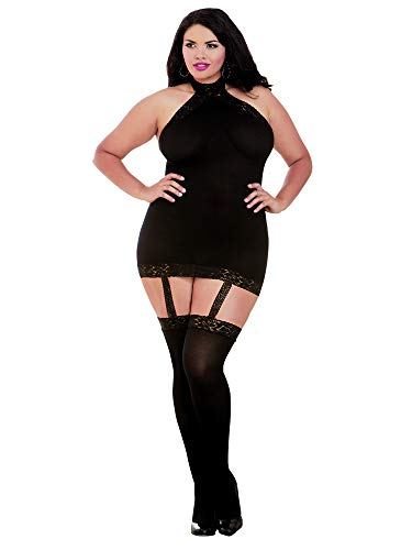 Dreamgirl Women's Plus Size Semi-Sheer Halter Garter Dress with Thigh High Stockings, Black, O/SQ (Womens Plus Size Sexy Costumes)