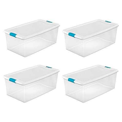 (Sterilite 106-Qt. Clear Stackable Latching Storage Box Container, 4 Pack | 1499)