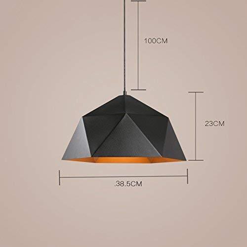 シャンデリア家の装飾天井ランプ屋内ライトアイアンダイヤモンドシャンデリア、幾何学的なシャンデリア、バーシングルヘッドレストランライト、黒、38.5 * 23センチ   B07TNZW2KV