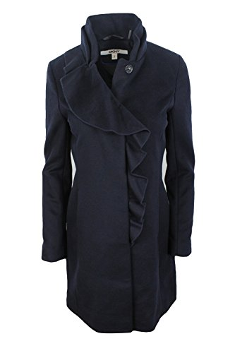 DKNY Women's Navy Blue Ruffled Warm Wool Blend Fitted Coat, 4 -