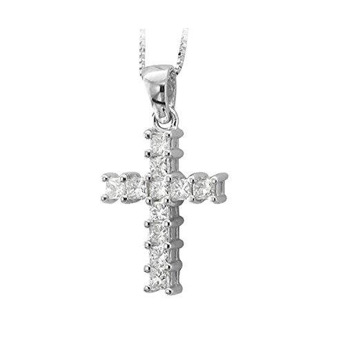 14k White Gold Princess Cut Cross Diamond Pendant Necklace (1 Carat)