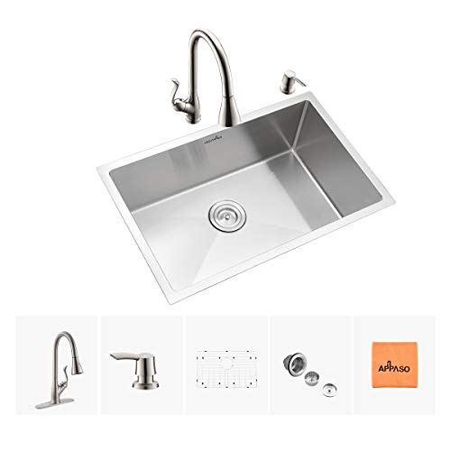 APPASO Kitchen Sink & Faucet Combo Set, 28 Inches Stainless Steel Single Bowl Kitchen Sink Undermount and Pull Down Sprayer Kitchen Faucet kit ()