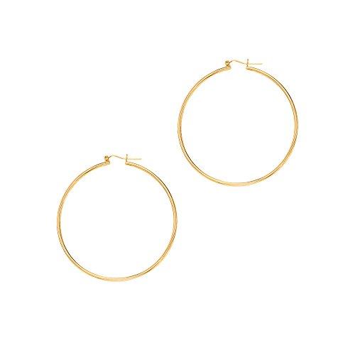 Aleksa Ladies 14K Yellow Gold Polished Classic Hinched Tube Hoop Earrings (Diameter 45mm,Width - Earrings Dangle Tube 14k