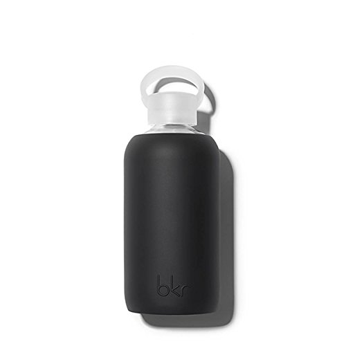 bkr Jet Glass Water Bottle with Smooth Silicone Sleeve for Travel, Narrow Mouth, BPA-Free & Dishwasher Safe, Opaque Black, 16 oz / 500 mL by bkr (Image #2)