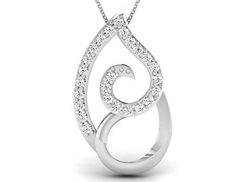 Or Blanc 14 ct Pendentifs Diamant , 0.05 Ct Diamant, GH-SI, 0.59 grammes.