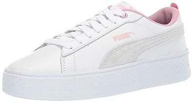 PUMA Women's Smash Platform Sneaker White-Pale Pink, 5.5 M US