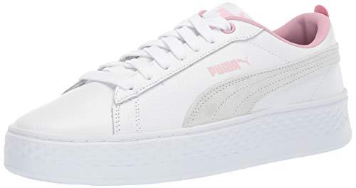 (PUMA Women's Smash Platform Sneaker White-Pale Pink, 9 M US)