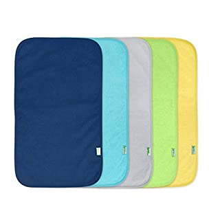 green sprouts Stay-Dry Burp Pads (5 Count) | Ultimate protection from drools & spit ups | Waterproof protection, Soft & absorbent terry, Machine washable