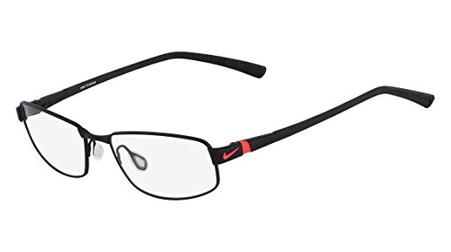 NIKE Eyeglasses 6056 004 Satin Black/Laser Crimson (6056 Eyeglasses)