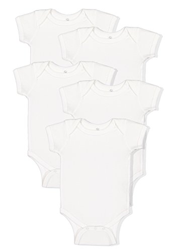 (Rabbit Skins 5 Pack 4400 Mulitcolor 100% Cotton Infant Baby Rib Bodysuit (Best Basics White, 18 Months))