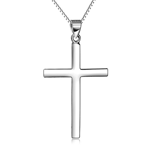 LUHE Men's Jewelry Sterling Silver Plain Classic Cross Pendant Necklace for Men, 18