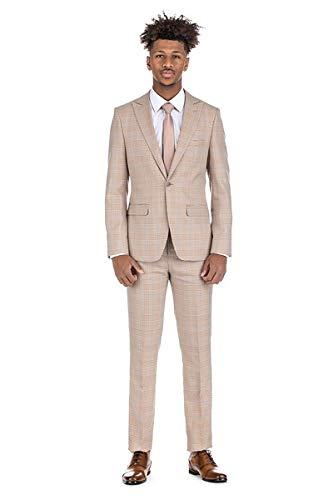 Milano Vichee Men's Checker Slim Fit 2Pcs Set(Coat +Pant) 4 Colors Beige