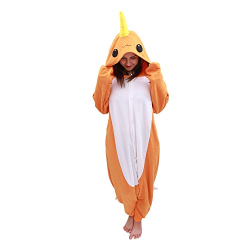 Animal Oneise Narwhal Pajamas - Plush One Piece Costume (Medium, Orange) -