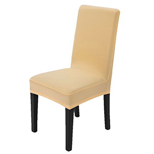 uxcell Stretchy Dining Chair Cover Short Chair Covers Washable Protector Seat Slipcover For Wedding Party Restaurant Banquet Home Decor (Champagne Color)