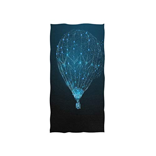 Naanle Blue Sparkling Starry Hot Air Balloon Constellation Star Pretty Galaxy Universe Print Soft Bath Towel Absorbent Hand Towels Multipurpose for Bathroom Hotel Gym and Spa 30