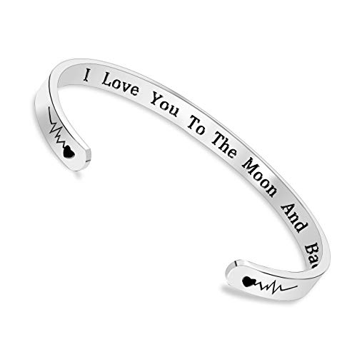 I Love You To The Moon And Back Inspirational Bracelet Cuff Bangle Mantra Quote Keep Going Stainless Steel Engraved Motivational Friend Encouragement Jewelry Gift for Women Teen Girls with Secret Mess ()