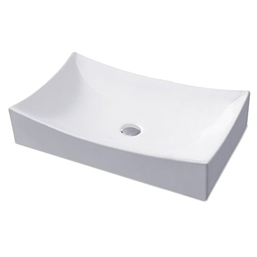 KES Bathroom Rectangular Porcelain Vessel Sink Above Counter White Countertop Bowl Sink for Lavatory Vanity Cabinet Contemporary Style, BVS112