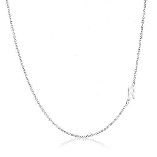 (Deidreamers Sterling Silver Side Mini Initial Necklace R)