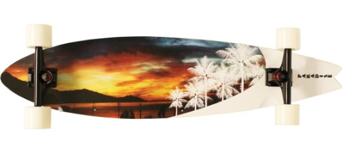 Paradise White Sunset Complete Longboard, 9.5×39.5-Inch
