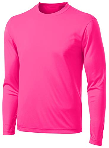 DRI-Equip Long Sleeve Moisture Wicking Athletic Shirt-X-Large-NeonPink