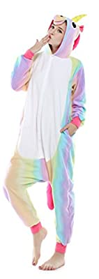 US TOP Unicorn Adult Animal Kigurumi Cosplay Costume Pajamas Onesies (XL(178cm-188cm), Colorful Unicorn)