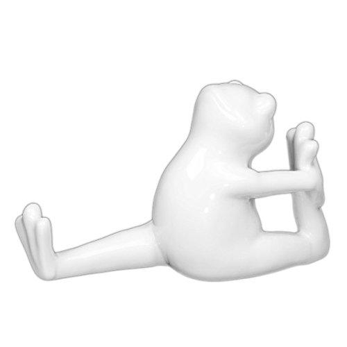 Holst Porzellan PSFR 003 FA1 Besteckhalter, Messerbank, Serviettenhalter Frosch, weiß, 7 x 16.3 x 9.9 cm