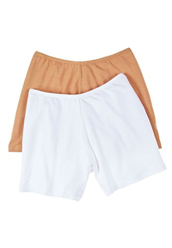 Comfort Choice Women's Plus Size 2-Pack Cotton Fitted Boxer Boyshort White Nude