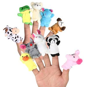 2017 BEST selling product-10 Pcs Family Finger Puppets Cloth Doll Baby Educational Hand Cartoon Animal Toy