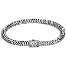 """John Hardy"""" Classic Chain"""" Sterling Silver Chain Bracelet with Diamond Pave (0.18cttw)"""