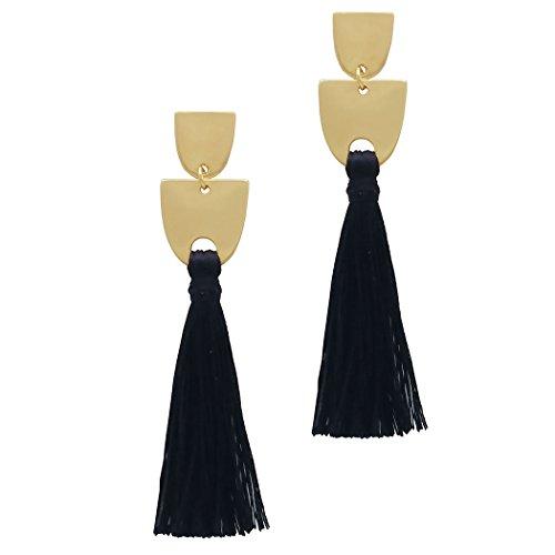 Modern Design Earrings (Rosemarie Collections Women's Modern Design Thread Tassel Fashion Dangle Earrings (Jet Black))