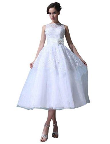 Length White Tea A Dresses Wedding Women's Bateau Sleeveless Line Dearta YPqnp
