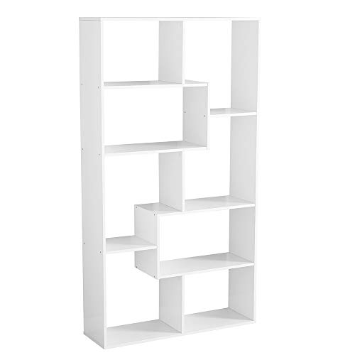 BS Open Shelf Bookcase Stylish White Freestanding Cube Shelving Unit with Asymmetrical Shelves Home Office Additional Storage Furniture Contemporary Room Divider & eBook by BADA Shop