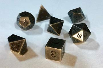 Chessex: 7-Die Set: Solid Metal Dark Metal Color - - Metal Chessex Dice