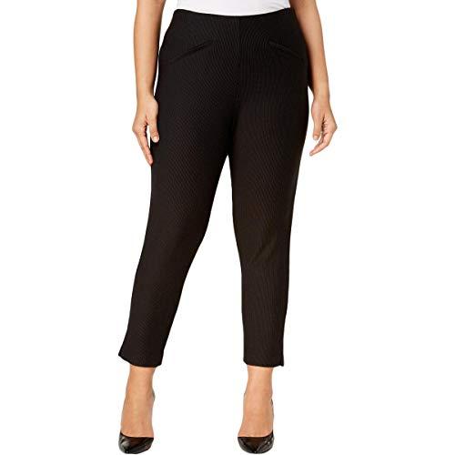 Anne Klein Womens Pinstriped Compression Ankle Pants B/W 24W Black/White