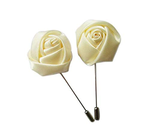 - 6 pcs Satin Rose Lapel Pins,YYCRAFT Men's Flower Boutonniere Pins for Party Business Wedding Suit,Cream