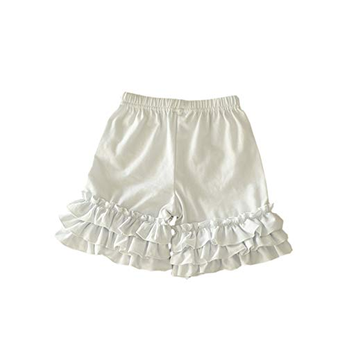 Bfsports Toddler Baby Girls Solid Color Triple Icing Ruffle Shorts Cotton Sport Active Bottom Pants White 1-2T