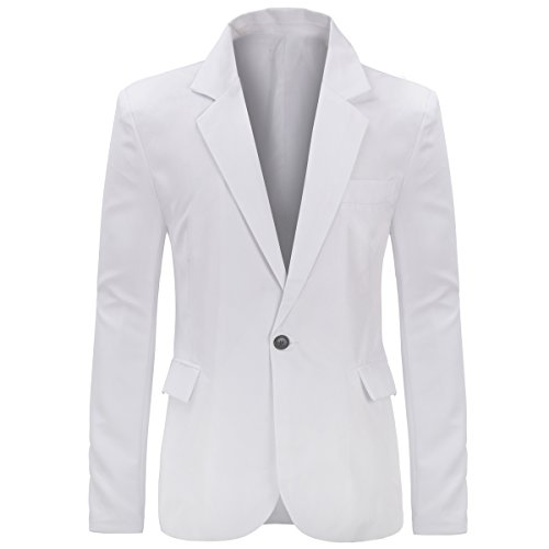 Men's Slim Fit Casual One Button Notched Lapel Blazer Jacket - Notched Lapel Blazer