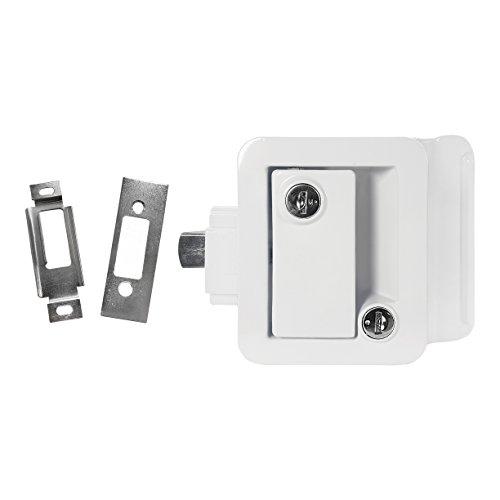 White RV Paddle Door Handle | RV Door Lactch | Entry Door Handle | Camper (Trailer) Front Door Handle | Door Knob | w/Deadbolt (Deadbolt Trailer)