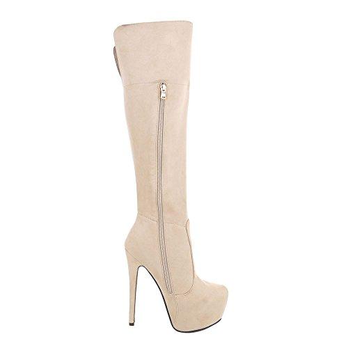 Ital-Design High Heel Stiefel Damenschuhe Klassischer Stiefel Pfennig-/Stilettoabsatz High Heels Reißverschluss Stiefel Beige
