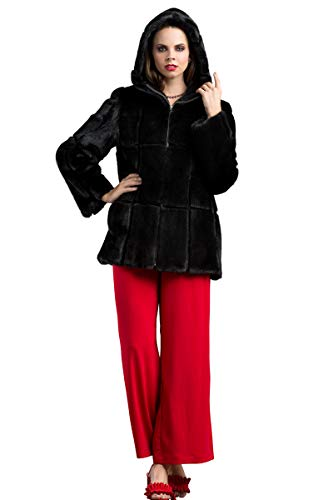 EM-EL Women's Hooded Long Hair Black and Sheared Mink Fur Jacket