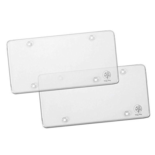 VaygWay Clear License Plate Cover- Flat Car License Plate Shield- 2 Pk Back and Front- Fits All Standard US Plates- Heavy Duty All Weather Universal- SUV Car Truck Van Auto