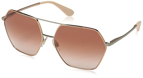 Dolce & Gabbana Women's Metal Woman Square Sunglasses, Pink Gold, 59.1 mm