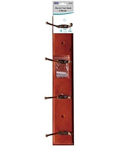 2 x 4 latón ganchos de madera montado en la pared perchero ...