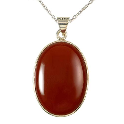 Sterling Silver Genuine Oval Orange Carnelian 1 inch Sacral Chakra Handmade Pendant 16+2 inches ()
