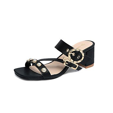 LvYuan Mujer Sandalias PU Verano Otoño Perla de Imitación Tacón Bajo Blanco Negro 2'5 - 4'5 cms Black
