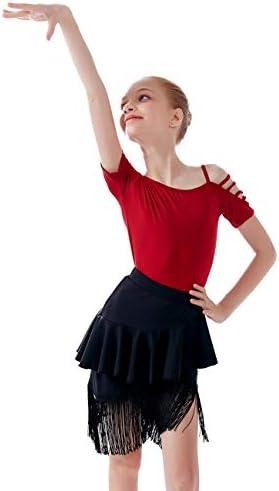Girls Kids Latin Ballroom Dance Dress Ruffle Fishtail Dance Skirt with Fringe