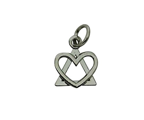 Adoption Symbol Triad Pendant Charm Drop Necklace - Heart and Triangle with 18inches (Adoption Necklace)