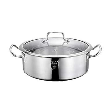 Olla Cacerola De Utensilios De Cocina De Acero Inoxidable, Cocina Sopa con Tapas De Vidrio, 32 cm (Plateado): Amazon.es: Hogar